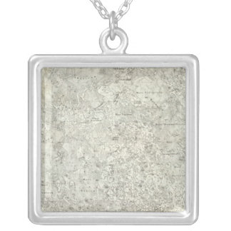 Moon Map Square Pendant Necklace