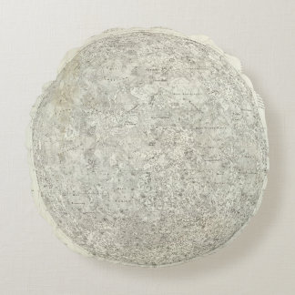Moon Map Round Pillow