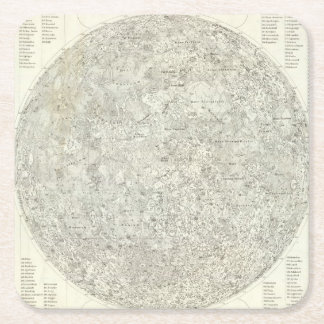 Moon Map Square Paper Coaster