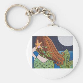 Moon Mermaid Basic Round Button Keychain