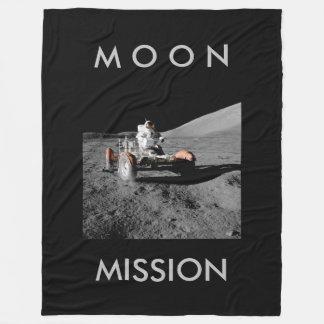 moon mission astronaut buggy space fleece blanket