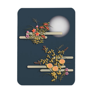 Moon, mist and flowers magnet