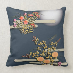 Moon, mist and flowers pillow