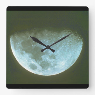 Moon. (moon;shade;sky;night_Space Scenes Square Wall Clock