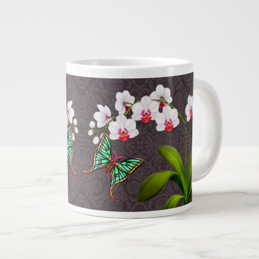 Moon Moth on White Phalaenopsis Orchids Jumbo Mug 20 Oz Large Ceramic Coffee Mug