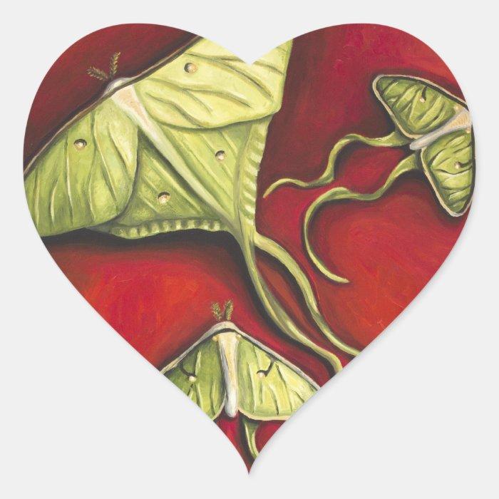 Moon Moths Heart Sticker