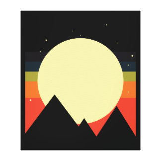 Moon Mountain Abstract Design Canvas Print