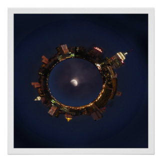 Moon & New York City Planetoid Poster