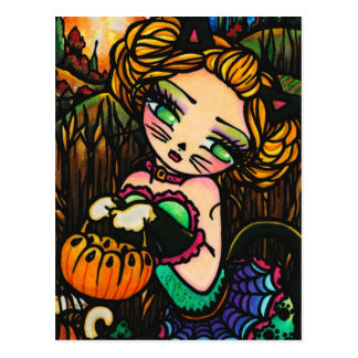 Moon Night Halloween Kitty Cat Girl Fantasy Art Postcard