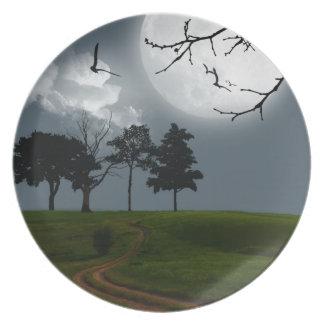Moon night mystery fantasy scenery plate