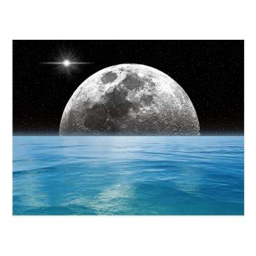 Beach Themed Moon Ocean Postcard