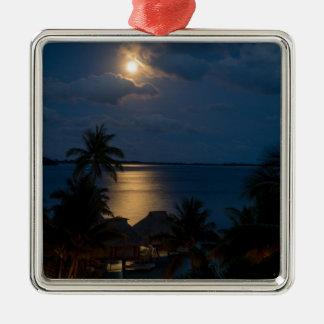 Moon one will bora will bora metal ornament