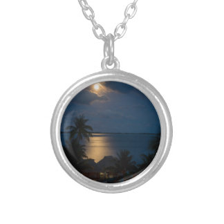 Moon one will bora will bora silver plated necklace