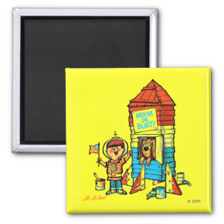 Moon or Bust! 2 Inch Square Magnet