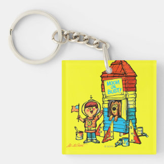 Moon or Bust! Double-Sided Square Acrylic Keychain