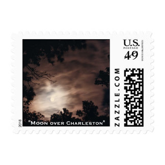 """Moon over Charleston"" by Melanie McWho... Stamp"