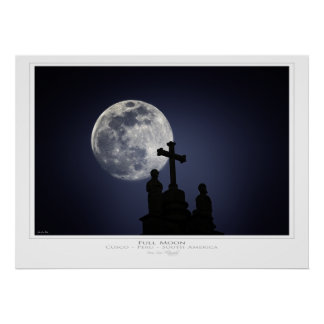 Moon over Cusco Cathederal, Peru Print