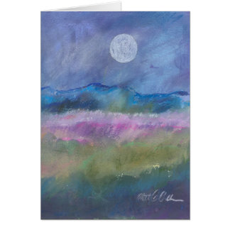 Moon over desert field. card