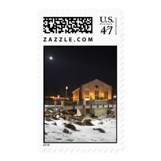 Moon over hydro elecrtic plant Sioux Falls SD gift Postage