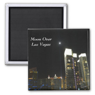 Moon Over Las Vegas 2 Inch Square Magnet