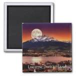 Moon Over Lucerne Switzerland And Mount Pilatus 2 Inch Square Magnet