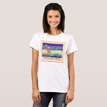 Beach Themed Moon Over Miami Orange T-Shirt