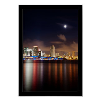 Moon over Miami skyline - Poster