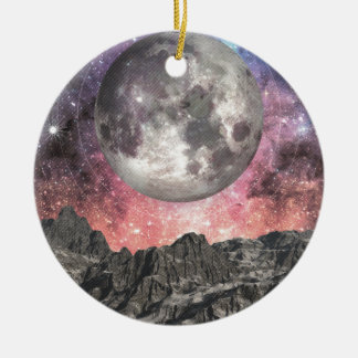 Moon Over Mountain Lake Ceramic Ornament
