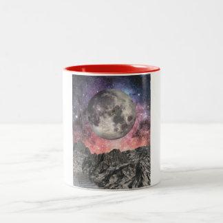 Moon Over Mountain Lake Two-Tone Coffee Mug