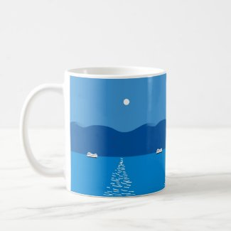 Moon over Mountains and River Coffee Mug