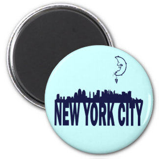 MOON OVER NEW YORK CITY 2 INCH ROUND MAGNET