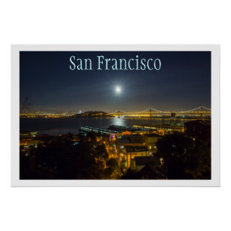 Moon over Oakland Bay Bridge, San Francisco, CA Poster