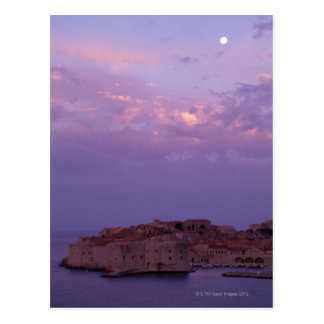 Moon Over Old City Postcard