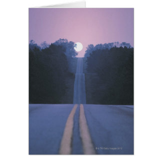 Moon Over Open Road Greeting Card