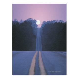 Moon Over Open Road Postcard