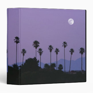 Moon over palm trees at dusk, Hollywood 3 Ring Binder