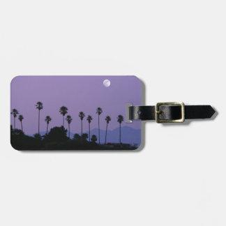 Moon over palm trees at dusk, Hollywood Bag Tag