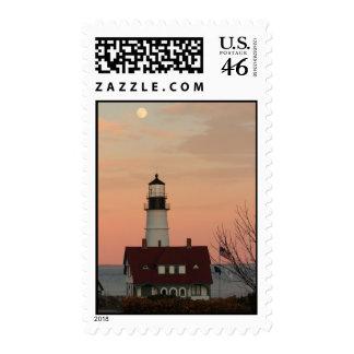 Moon Over Portland Head Lighthouse Postage Stamp