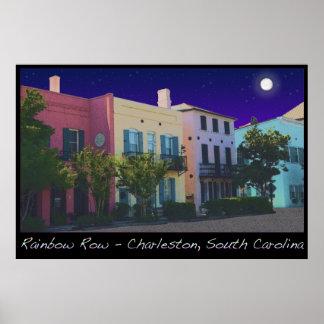 Moon over Rainbow Row Poster
