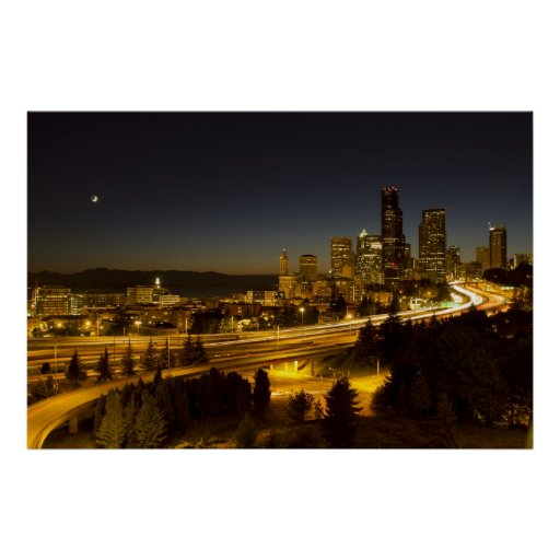 Moon Over Seattle Downtown Skyline Poster