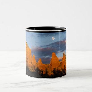 Moon Over Sedona Mountain Two-Tone Coffee Mug