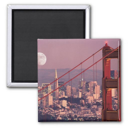 Moon Over the Gate 2 Inch Square Magnet