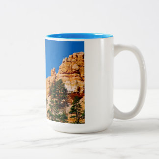Moon over the hoodoos at Bryce Canyon, UT Two-Tone Coffee Mug