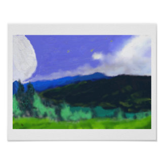 Moon Over the Land 2 Art Poster