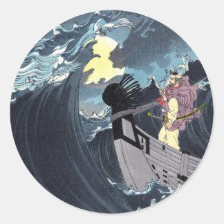 Moon over the waters at Daimotsu Bay, Yoshitoshi Classic Round Sticker