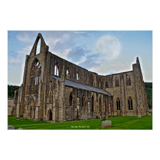 Moon over Tintern Abbey Cistercian Cloisters Wales Posters