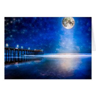 Moon Over Tybee Beach Card