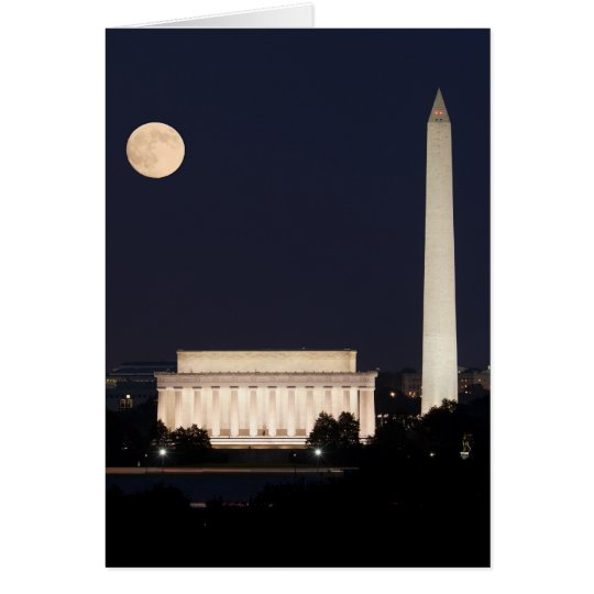 Moon over Washington DC Card