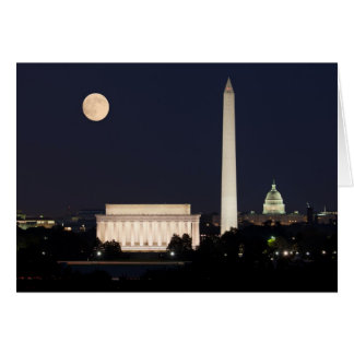 Moon over Washington DC Greeting Card