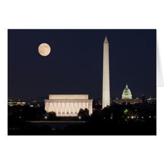 Moon over Washington DC Greeting Cards